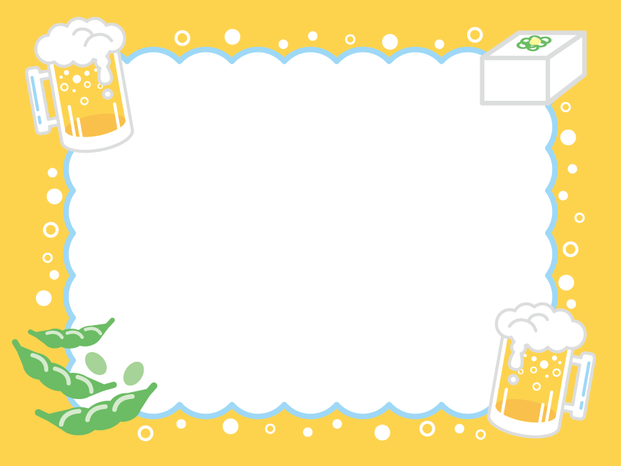 フリーイラスト ビールと冷や奴と枝豆の飾り枠