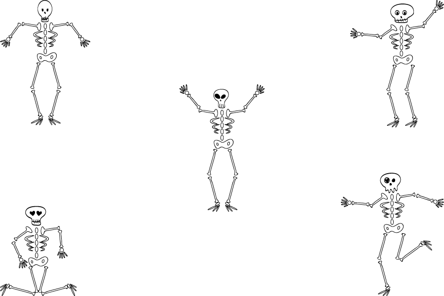 フリーイラスト 5種類の骸骨のセット