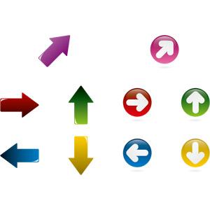 フリーイラスト, ベクター画像, AI, 矢印, 右上を指す, 右を指す, 上を指す, 左を指す, 下を指す