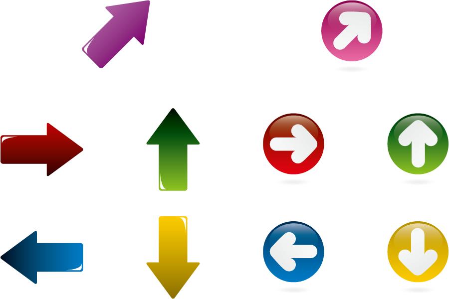 フリーイラスト 10種類の矢印のセット