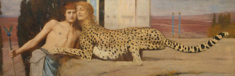 フリー絵画 フェルナン・クノップフ作「愛撫」