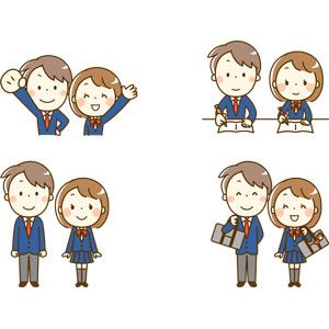 フリーイラスト, 人物, 少女, 少年, 学生(生徒), 学生服, 高校生, 中学生, ブレザー制服, ガッツポーズ, 手を振る, 勉強(学習), 宿題, 書く, 通学鞄