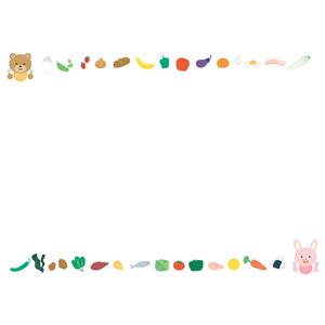 フリーイラスト, ベクター画像, AI, 背景, フレーム, 上下フレーム, 熊(クマ), 兎(ウサギ), 食べ物(食料), 果物(フルーツ), 野菜