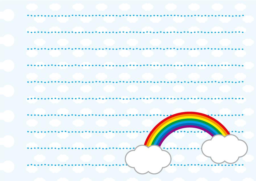 フリーイラスト 虹と雲の便箋
