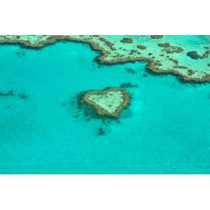 フリー写真, 風景, 自然, サンゴ礁, 海, グレート・バリア・リーフ, 世界遺産, オーストラリアの風景, ハート, ハート・リーフ