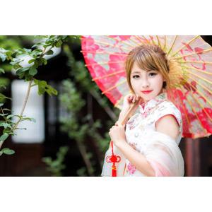 フリー写真, 人物, 女性, アジア人女性, 梁涵茹(00240), 中国人, チャイナドレス, 日傘