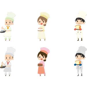 フリーイラスト, ベクター画像, AI, 人物, 男性, 女性, 仕事, 職業, 料理人(調理師), コック(シェフ), 調理, パティシエ, ケーキ屋, パン屋, 食パン