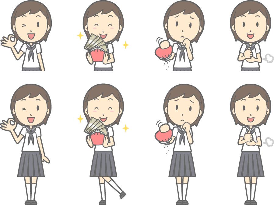 フリーイラスト 納得するなどの8種類の夏服の女子中学生のセット