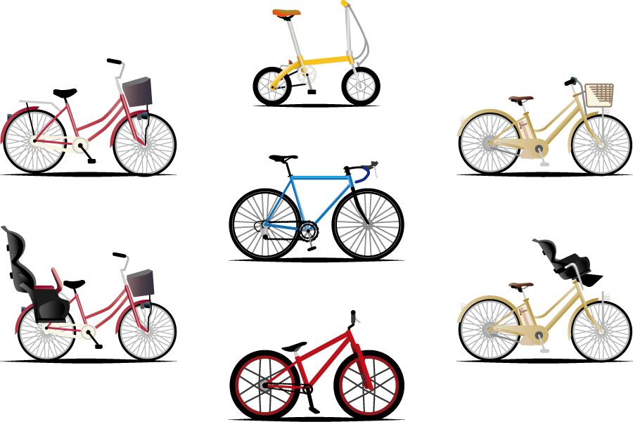 フリーイラスト 電動アシスト自転車などの7種類の自転車のセット