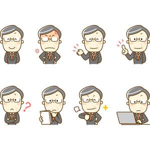フリーイラスト, 人物, 中年男性, 仕事, 職業, サラリーマン, 上司, ビジネスマン, 怒る, 笑う(笑顔), 案内する, アドバイス, 指差す, 分からない, 胸を叩く, デスクワーク, ノートパソコン, 考える, 眼鏡(メガネ), メンズスーツ