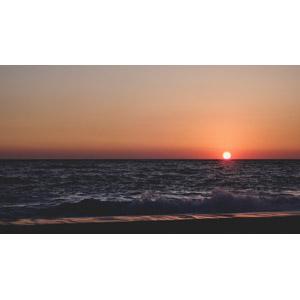 フリー写真, 風景, 自然, ビーチ(砂浜), 海, 夕暮れ(夕方), 夕焼け, 夕日, 日の入り, ギリシャの風景