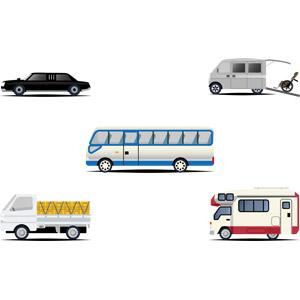 フリーイラスト, ベクター画像, AI, 乗り物, 自動車, リムジン, 介護タクシー, 介護, 車椅子, マイクロバス, 貨物自動車, トラック, キャンピングカー