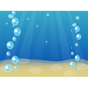 フリーイラスト, ベクター画像, SVG, 背景, 海, 水中, 泡, 薄明光線