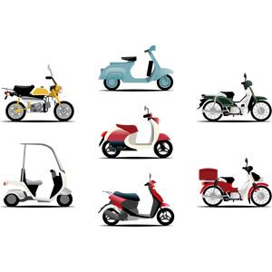 フリーイラスト, ベクター画像, AI, 乗り物, バイク(オートバイ), スクーター, ホンダ・スーパーカブ, ホンダ・モンキー, ベスパ, 本田技研工業, 郵便