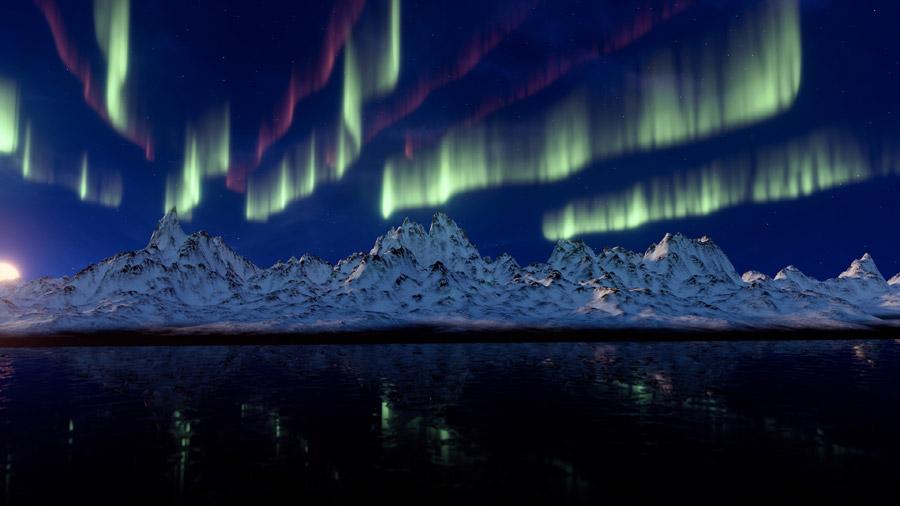 フリー写真 雪山とオーロラの風景