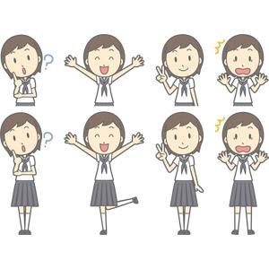 フリーイラスト, ベクター画像, AI, 人物, 少女, 少女(00247), 学生(生徒), 中学生, 学生服, セーラー服(学生服), 分からない, 首を傾げる, 万歳(バンザイ), 喜ぶ(嬉しい), ピースサイン(Vサイン), 驚く