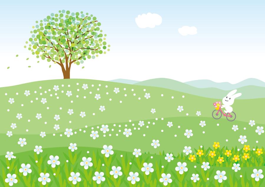 フリーイラスト 花咲く丘をサイクリングするウサギ