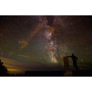 フリー写真, 風景, 夜, 夜空, 天の川, 星(スター), 人と風景, シルエット(人物)