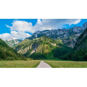 フリー写真, 風景, 田舎, 小道, 牧草地, 山, 雲, オーストリアの風景