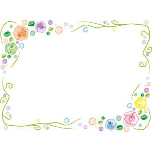 フリーイラスト, ベクター画像, EPS, 背景, フレーム, 囲みフレーム, 花, 薔薇(バラ), 水玉模様(ドット柄)