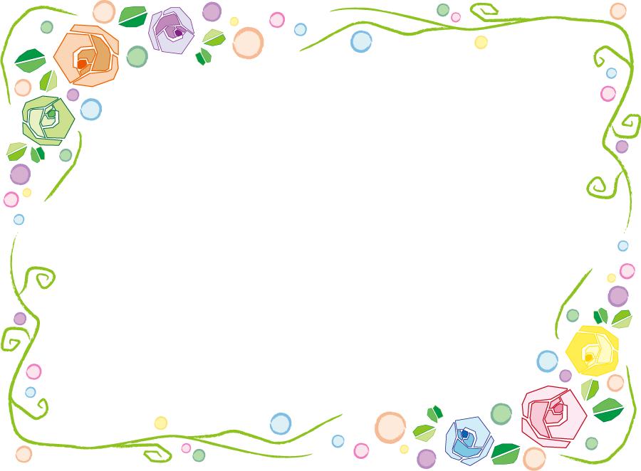 フリーイラスト カラフルな薔薇の花の囲みフレーム