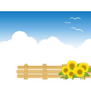 フリーイラスト, ベクター画像, EPS, 背景, 夏, 青空, 雲, 積乱雲(入道雲), 鴎(カモメ), 柵(フェンス), 植物, 花, 向日葵(ヒマワリ), 黄色の花