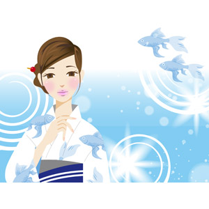 フリーイラスト, ベクター画像, AI, 人物, 女性, 浴衣, 和服, 夏, 水, 魚(サカナ), 金魚(キンギョ)