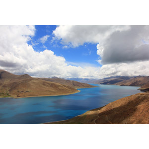 フリー写真, 風景, 自然, 湖, 雲, 中国の風景, チベット, 山