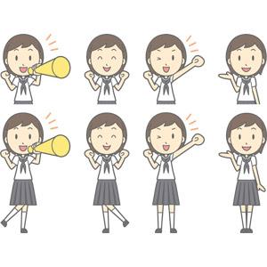フリーイラスト, ベクター画像, AI, 人物, 少女, 少女(00247), 学生(生徒), 中学生, 学生服, セーラー服(学生服), 応援する, メガホン(拡声器), 案内する, ガッツポーズ, ワクワク