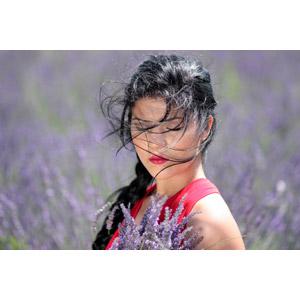 フリー写真, 人物, 女性, 外国人女性, 女性(00241), ルーマニア人, 人と花, ラベンダー, 目を閉じる, 髪がなびく