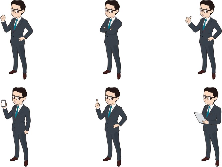 フリーイラスト 6種類の全身姿のビジネスマンのセット