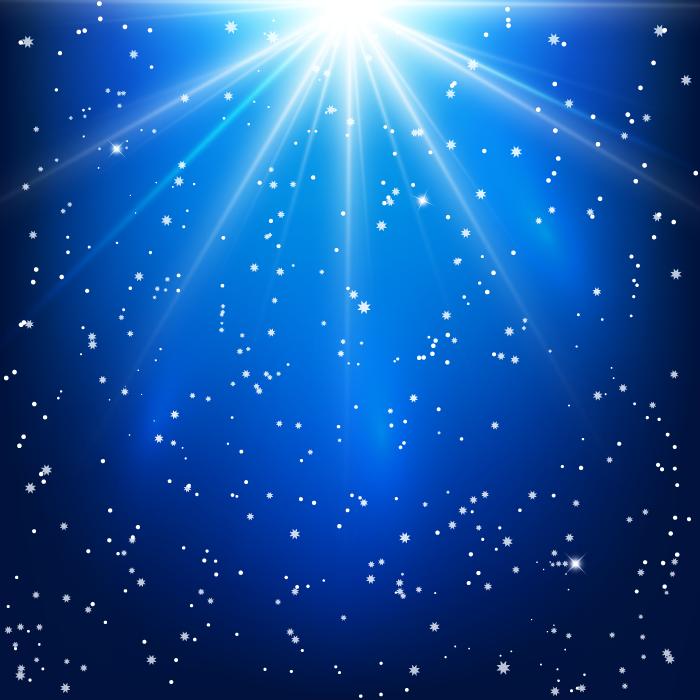 フリーイラスト 青白い光と星の背景