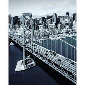 フリー写真, 風景, 建造物, 建築物, 高層ビル, 都市, 街並み(町並み), 橋, サンフランシスコ・オークランド・ベイブリッジ, アメリカの風景, サンフランシスコ, カリフォルニア州, モノクロ