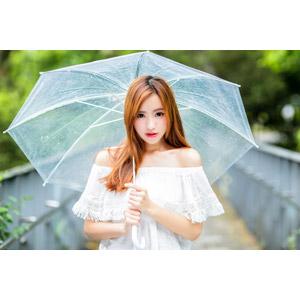 フリー写真, 人物, 女性, アジア人女性, 女性(00256), 中国人, 傘, 雨