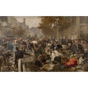 フリー絵画, レオン・オーギュスタン・レルミット, 風俗画, 人込み(人混み), 市場, 買い物(ショッピング), フランスの風景, パリ