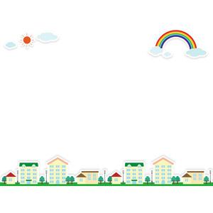 フリーイラスト, ベクター画像, AI, 背景, フレーム, 上下フレーム, 虹, 晴れ, 太陽, 街(町), 街並み(町並み), 雲