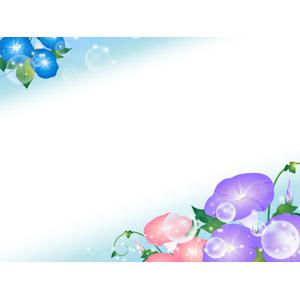 フリーイラスト, ベクター画像, AI, 背景, フレーム, 対角フレーム, 植物, 花, 朝顔(アサガオ), 玉ボケ, 夏