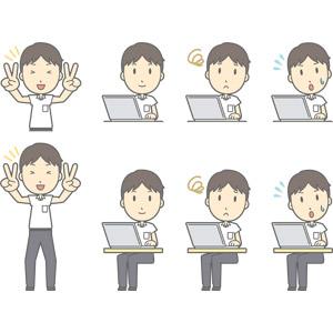 フリーイラスト, ベクター画像, AI, 人物, 少年, 少年(00259), 学生(生徒), 中学生, 学生服, ピースサイン(Vサイン), パソコン(PC), ノートパソコン, 困る, 焦る