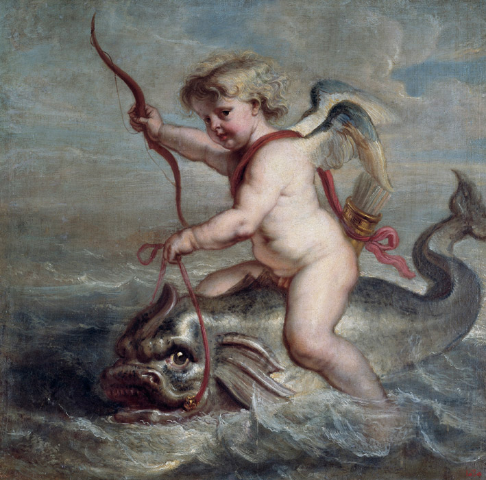 フリー絵画 エラスムス・クエリヌス(子)作「イルカに乗るキューピッド」