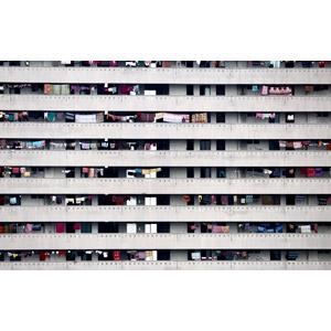 フリー写真, 風景, 建造物, 建築物, 高層ビル, 住宅, マンション(団地), 洗濯物, バングラデシュの風景