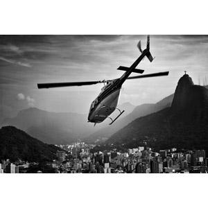 フリー写真, 乗り物, 航空機, ヘリコプター, コルコバードのキリスト像, 都市, ブラジルの風景, リオデジャネイロ, モノクロ