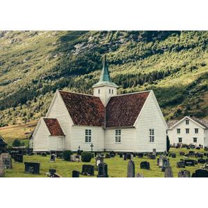 フリー写真, 風景, 建造物, 建築物, 教会(聖堂), 墓地, ノルウェーの風景