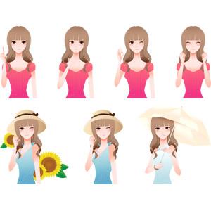 フリーイラスト, ベクター画像, AI, 人物, 女性, アドバイス, 指差す, 悩む, 顎に指を当てる, 考える, OKサイン, 喜ぶ(嬉しい), 麦わら帽子, 向日葵(ヒマワリ), ウインク, 傘, 人と花