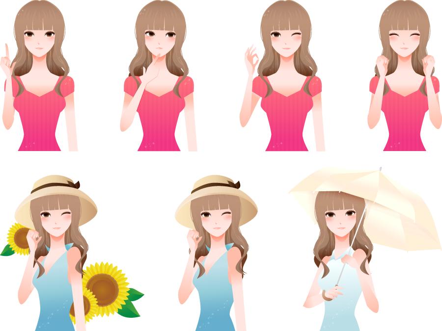 フリーイラスト 悩むなどの7種類のロングヘアの女性のセット