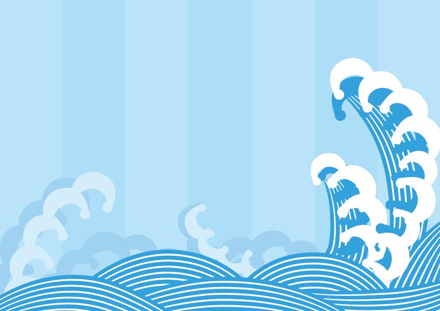 フリーイラスト 高波と青海波の背景