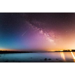 フリー写真, 風景, 夜, 夜空, 海, 天の川, 星(スター), 流れ星(流星), アメリカの風景
