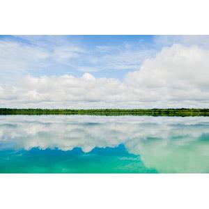 フリー写真, 風景, 自然, 雲, 青空, 鏡像, 湖, グアテマラの風景