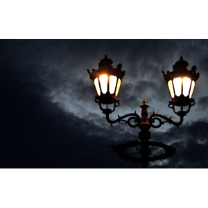 フリー写真, 風景, 街灯, 照明器具, 暗雲, 夜