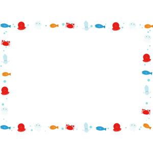 フリーイラスト, ベクター画像, AI, 背景, フレーム, 囲みフレーム, 動物, 魚(サカナ), 海月(クラゲ), 蛸(タコ), 烏賊(イカ), 蟹(カニ)