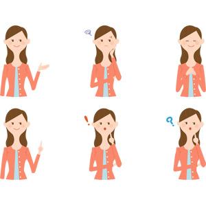 フリーイラスト, ベクター画像, AI, 人物, 女性, 案内する, アドバイス, 指差す, 困る, 気付く, 胸に手を当てる, 喜ぶ(嬉しい), 分からない
